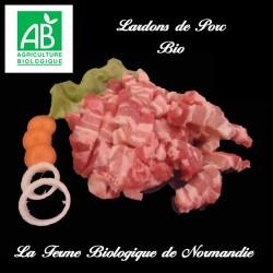 délicieux lardons frais de porc bio