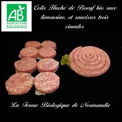 Colis économique préparation hachée de boeuf bio limousine, 1 kilo et saucisses trois viandes bio 1 kilo