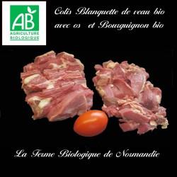 Colis économique 1 kilo blanquette de veau avec os, 1 kilo bourguignon de boeuf bio race limousine;