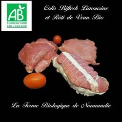 colis économique bifteck bio 1 kilo, race limousine, et rôti de veau bio, 1 kilo