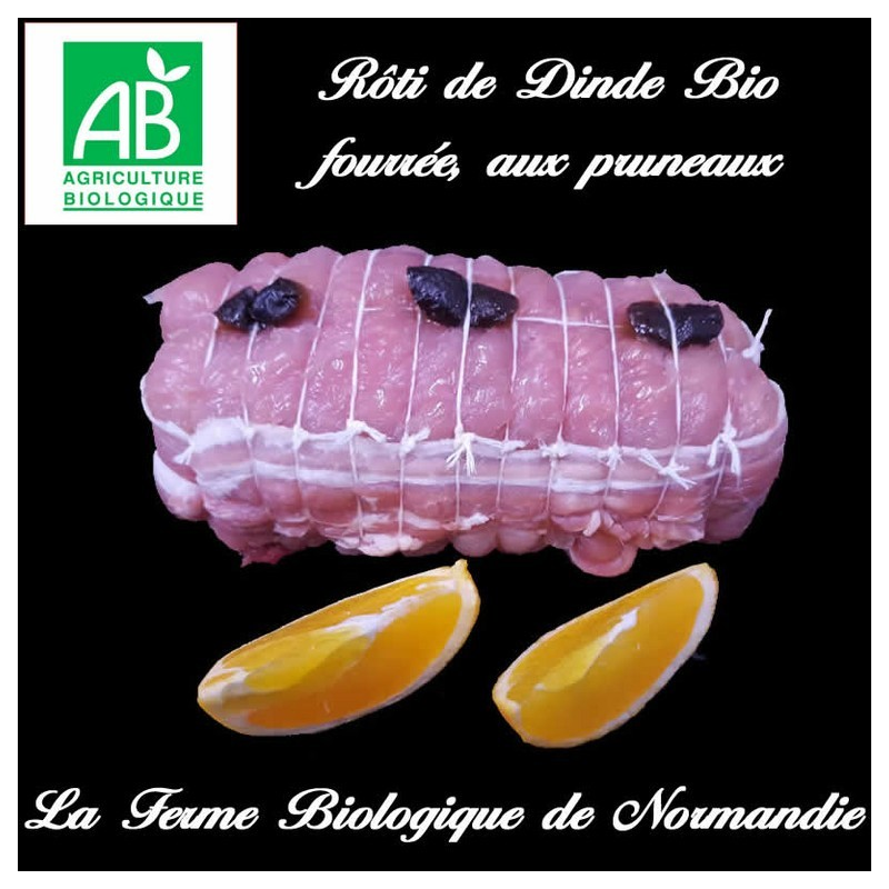 Succulent rôti de dinde bio, farcie, aux pruneaux